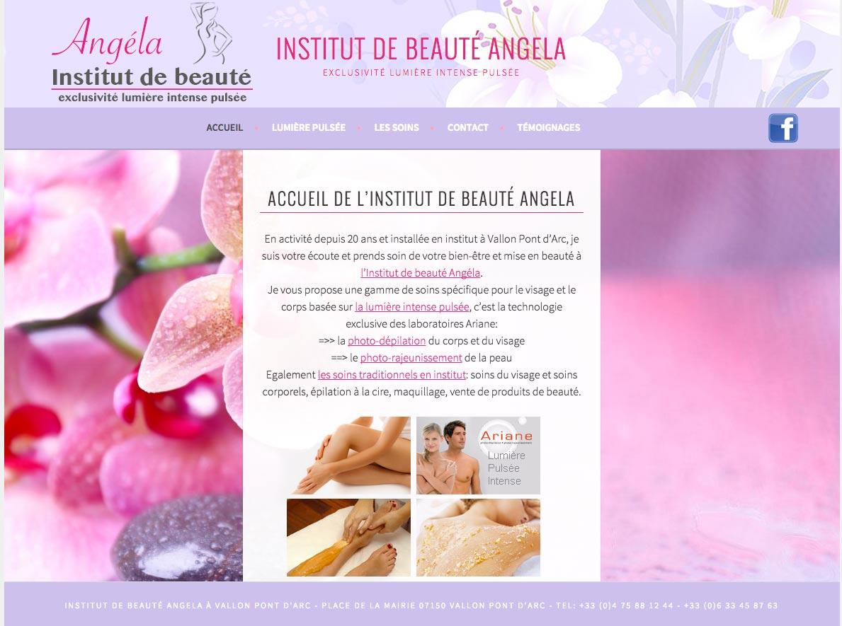 Création du site internet institutangela.fr pour l'activité d'Angela,esthéticienne à Vallon Pont d'Arc