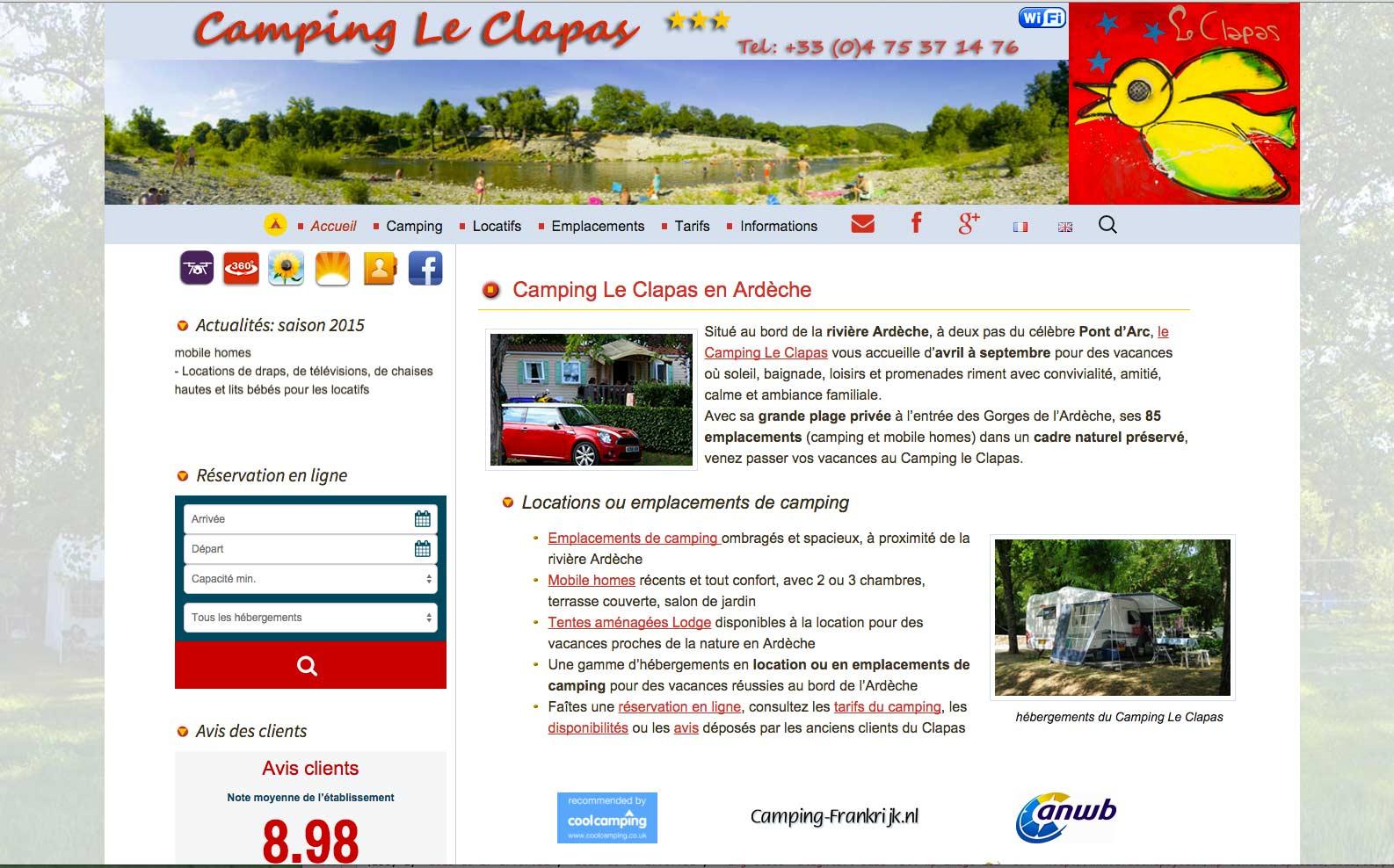 refonte site internet administrable camping le clapas