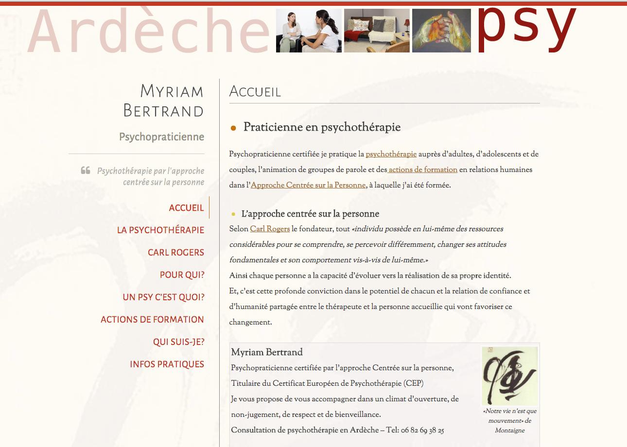 création de site internet pour l'activité de psychothérapie, Myriam Bertrand, psychopraticienne à Valon Pont d'Arc,