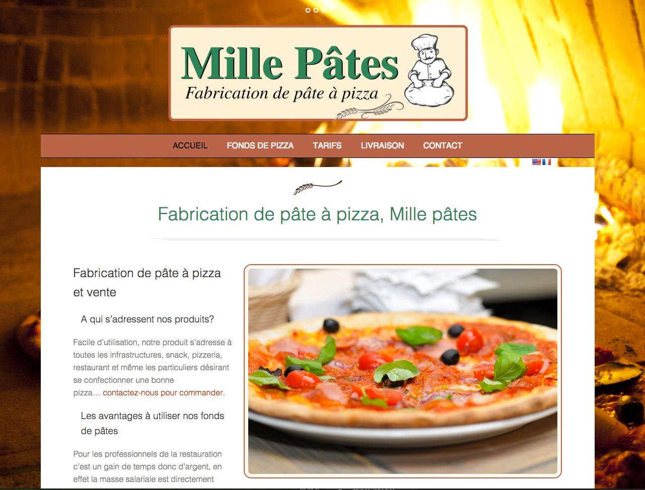 création de site internet pour la société Mille pâtes pizza, fabricant de fonds de pizza en Ardèche