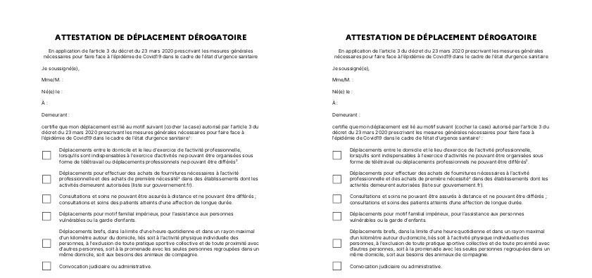 Attestation De Deplacement Derogatoire Covid19