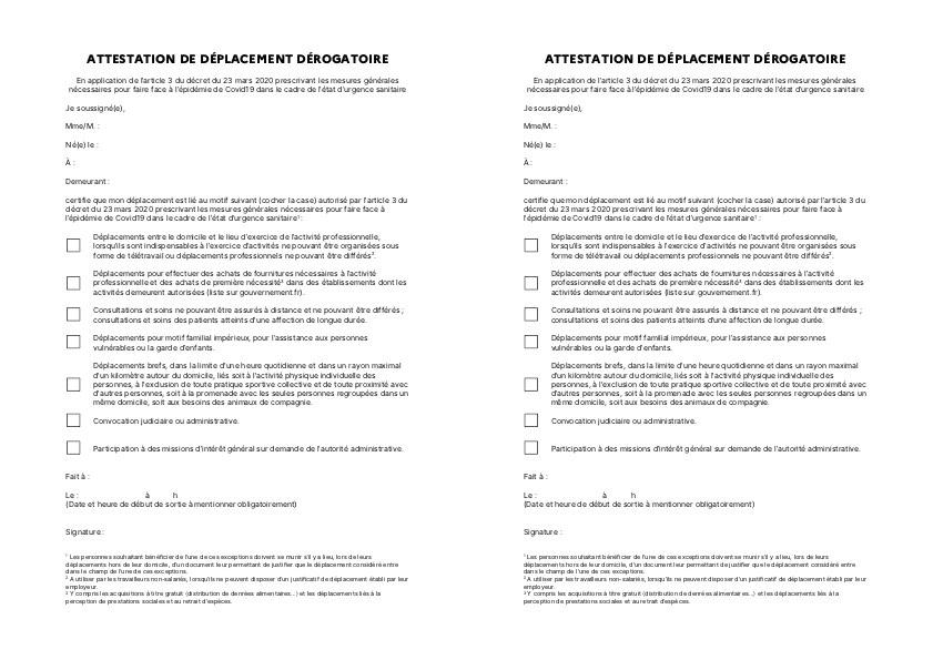 4 attestations de déplacement dérogatoire COVID19 sur 1 feuille A4
